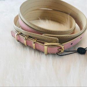 Anthropologie Raoul Ivory & Pink Color-Block Belt